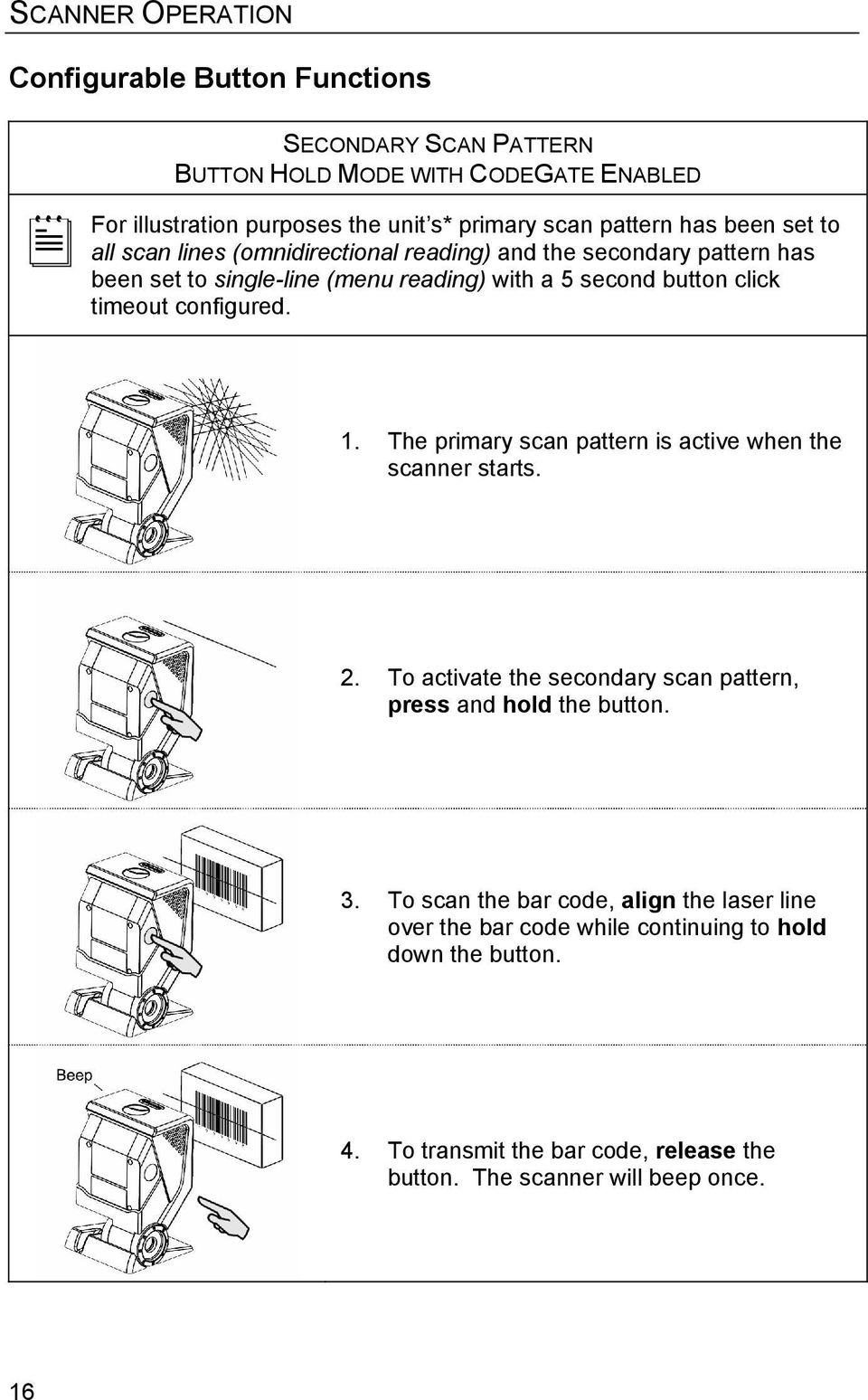 timeout configured. 1. The primary scan pattern is active when the scanner starts. 2. To activate the secondary scan pattern, press and hold the button. 3.