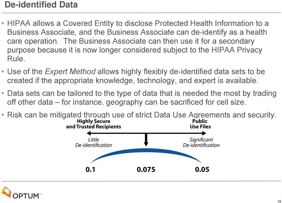 Use of the Expert Method allows highly flexibly de-identified data sets to be created if the appropriate knowledge, technology, and expert is available.