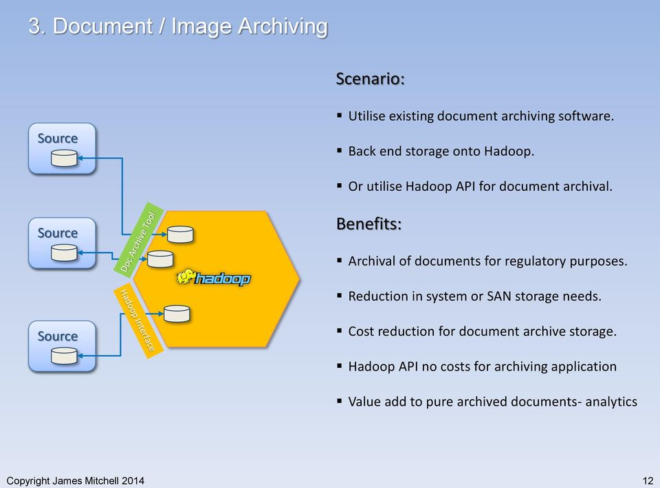 Benefits: Archival of documents for regulatory purposes. Reduction in system or SAN storage needs.