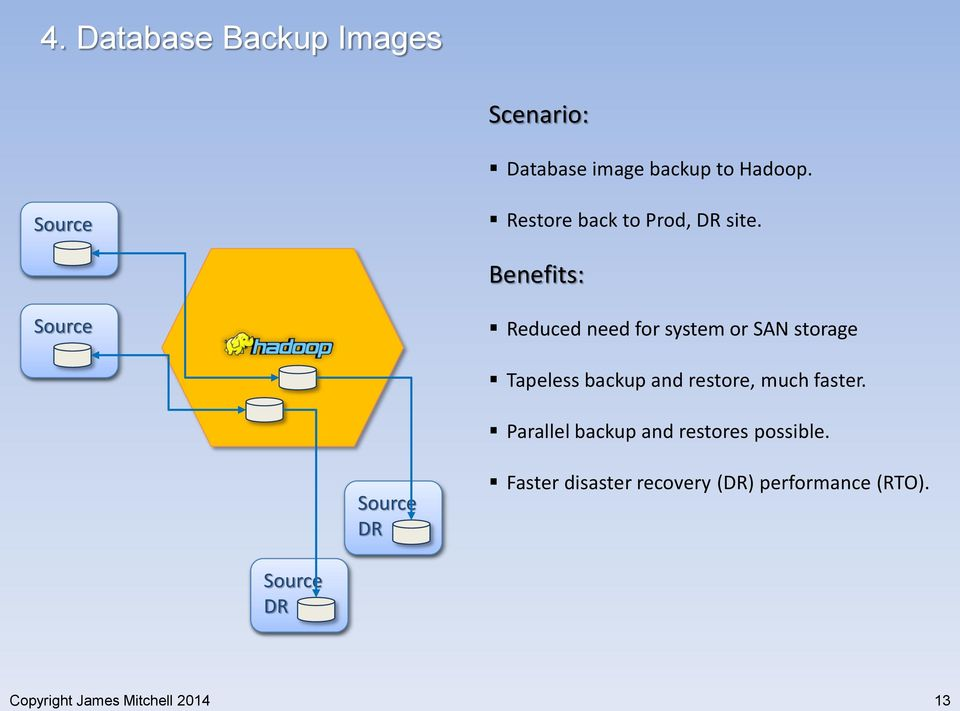 Benefits: Reduced need for system or SAN storage Tapeless backup and restore,