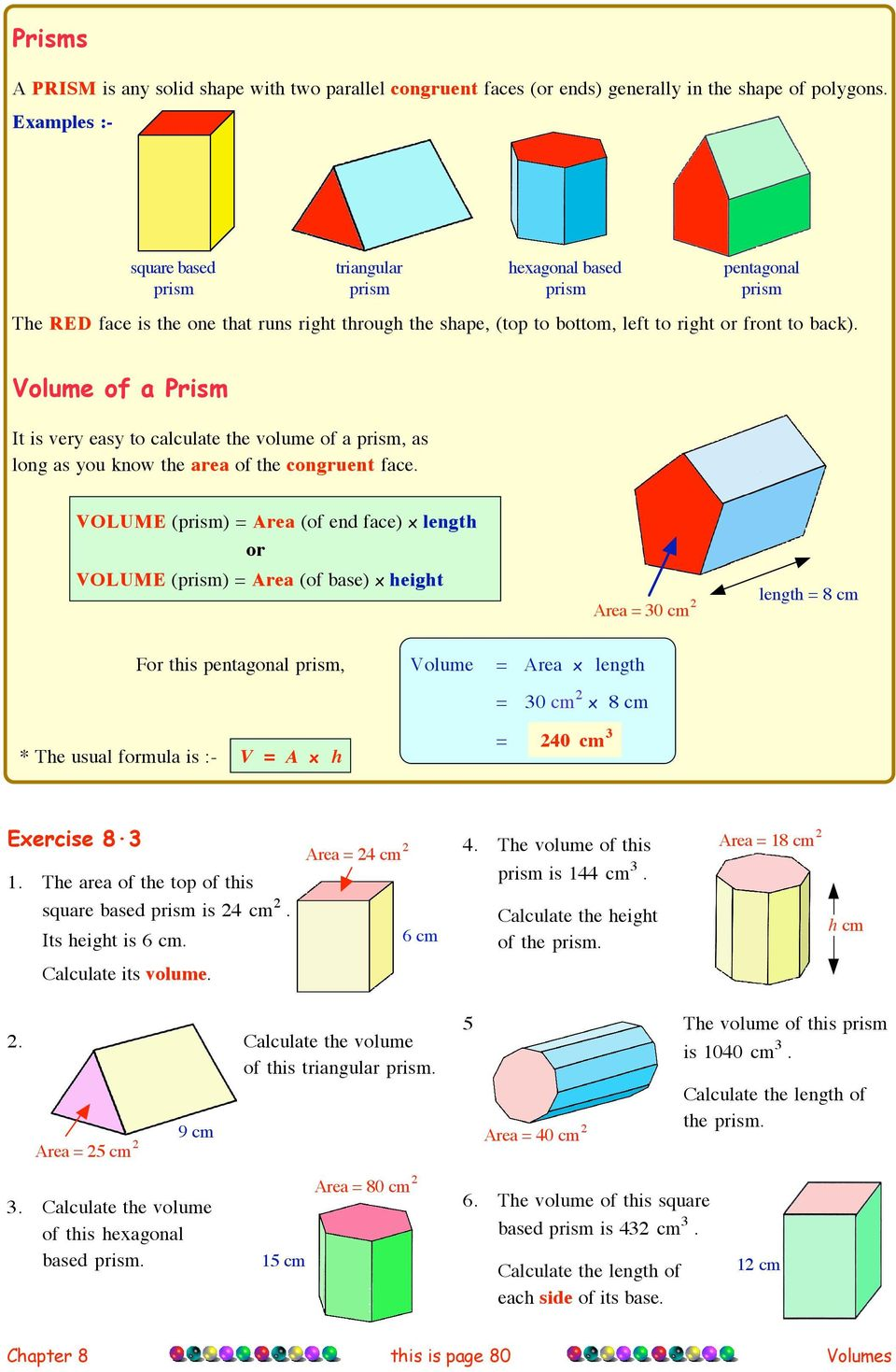 Volume of a Prism It is very easy to calculate the volume of a prism, as long as you know the area of the congruent face.