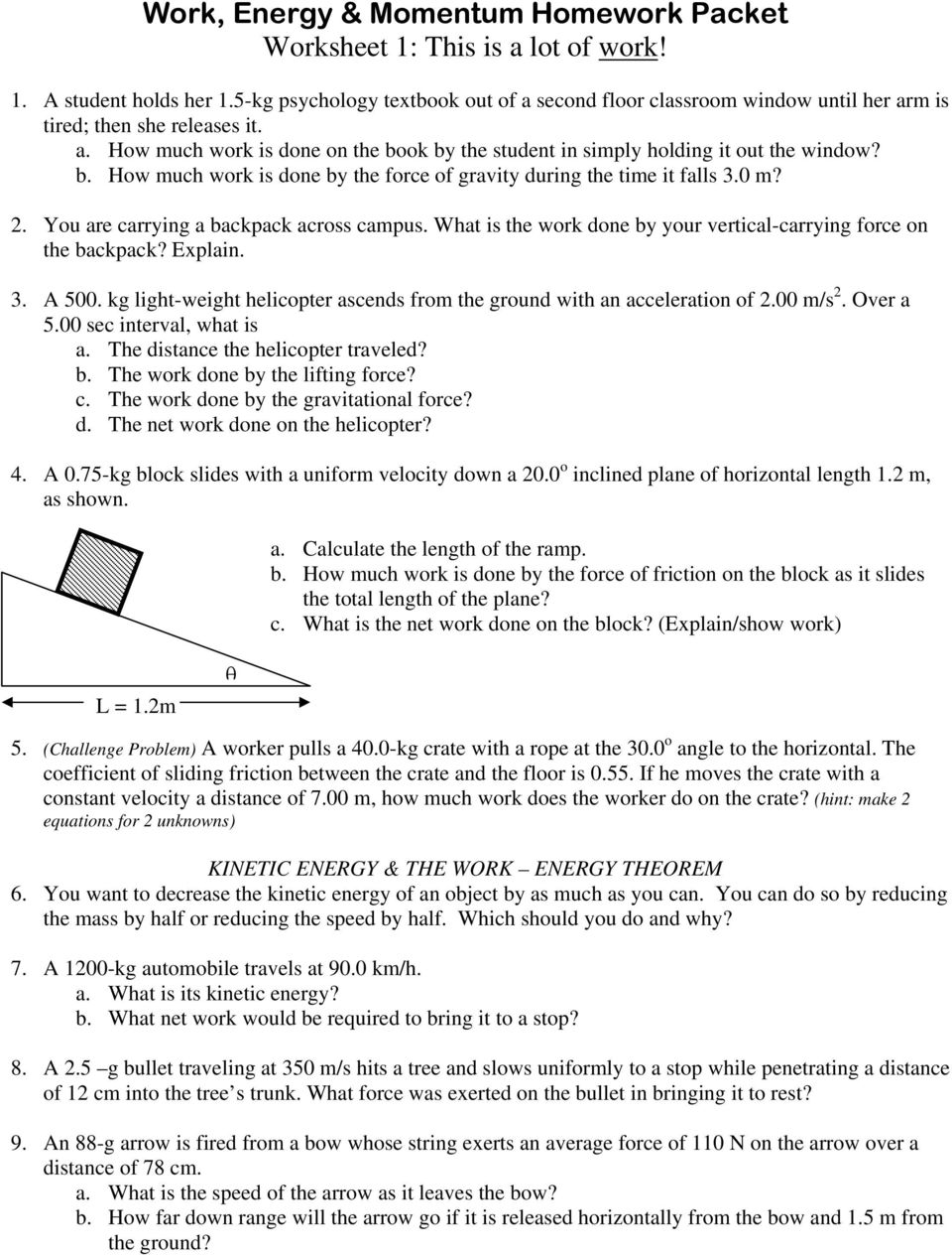 Work Energy  Momentum Homework Packet Worksheet 1 This is a lot