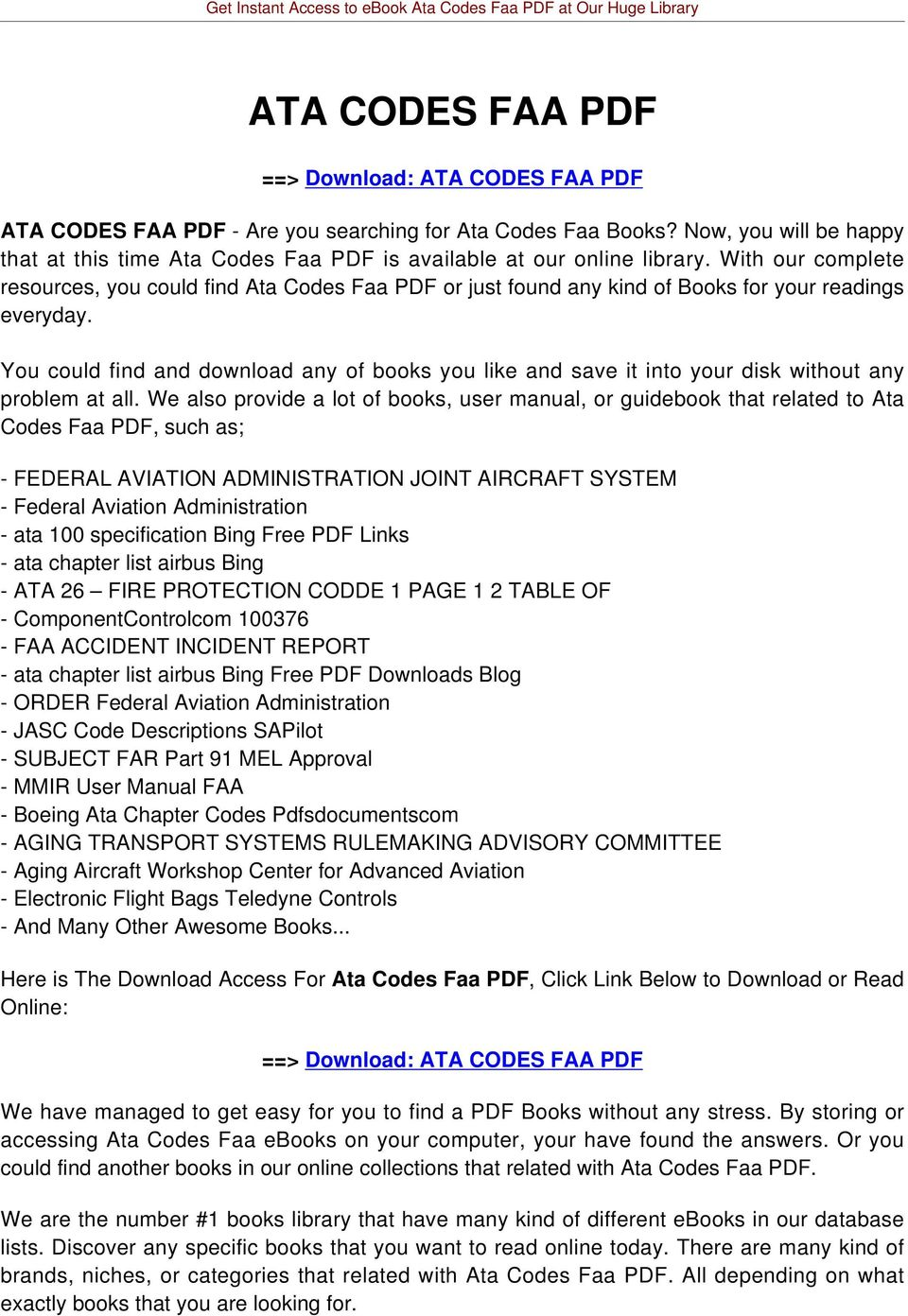 With our complete resources, you could find Ata Codes Faa PDF or just found any kind of Books for your readings everyday.
