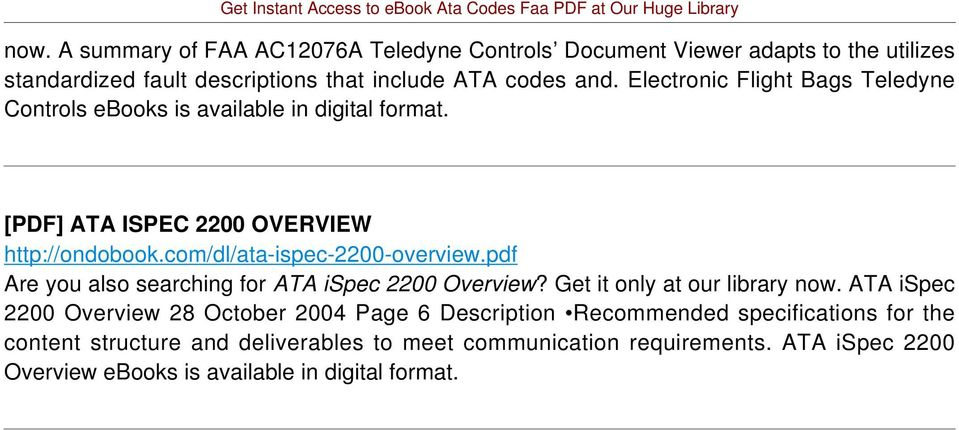 pdf Are you also searching for ATA ispec 2200 Overview? Get it only at our library now.