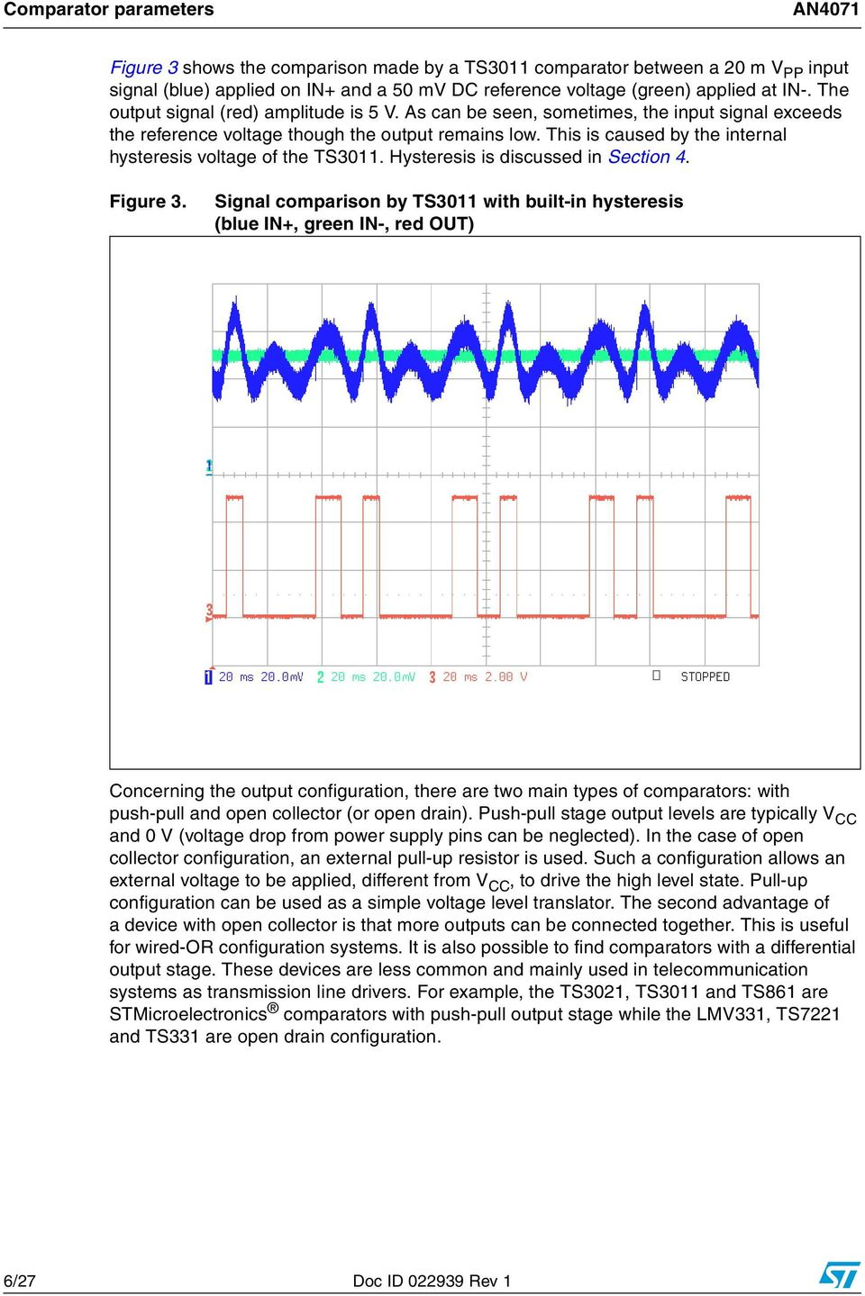 An4071 Application Note Pdf Lowpower Comparator With Less Than 10 V Hysteresis Circuit This Is Caused By The Internal Voltage Of Ts3011 Discussed In