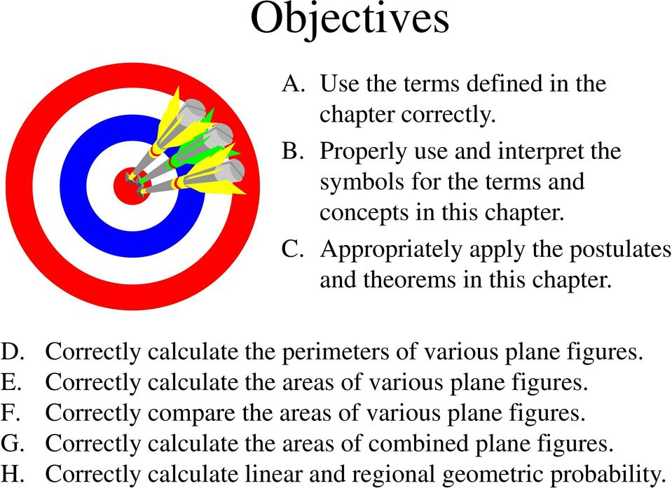 Appropriately apply the postulates and theorems in this chapter. D. Correctly calculate the perimeters of various plane figures. E.