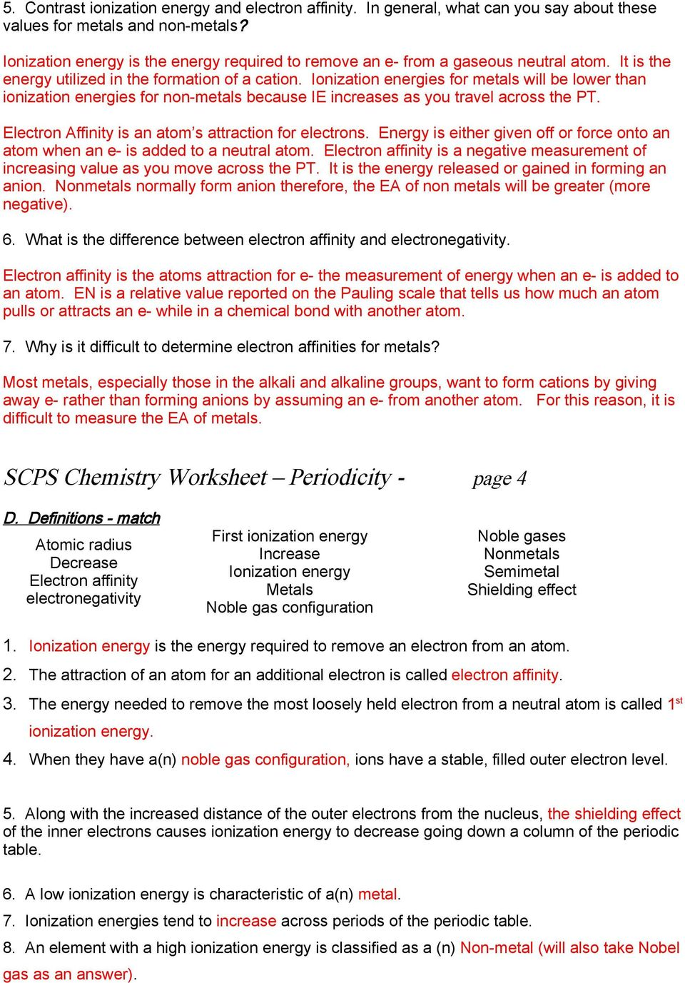 Scps chemistry worksheet periodicity a periodic table 1 which are ionization energies for metals will be lower than ionization energies for non metals because ie urtaz Gallery