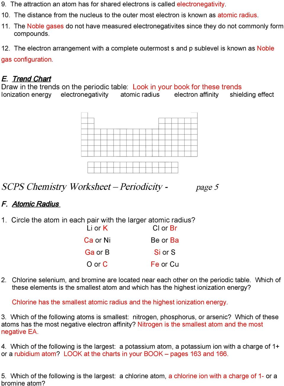 Trends in the periodic table worksheet answer key periodic tables worksheets the electron arrangement with a plete outermost s and p sublevel is known as le gas periodic properties lab determine periodic trends robcynllc Gallery