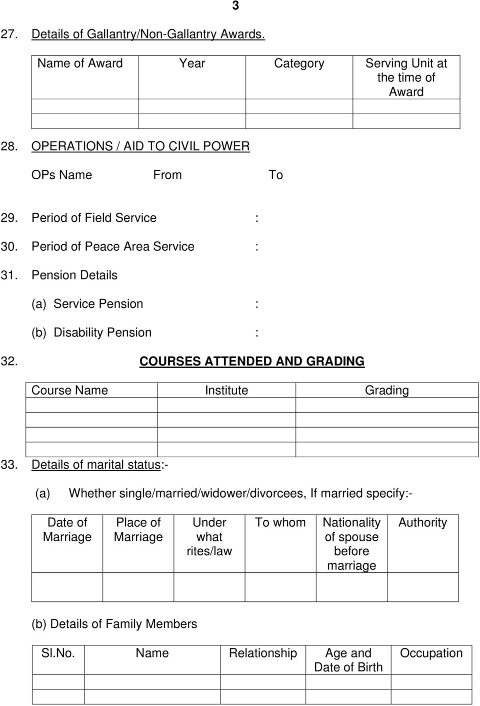 Pension Details (a) Service Pension (b) Disability Pension 32. COURSES ATTENDED AND GRADING Course Name Institute Grading 33.