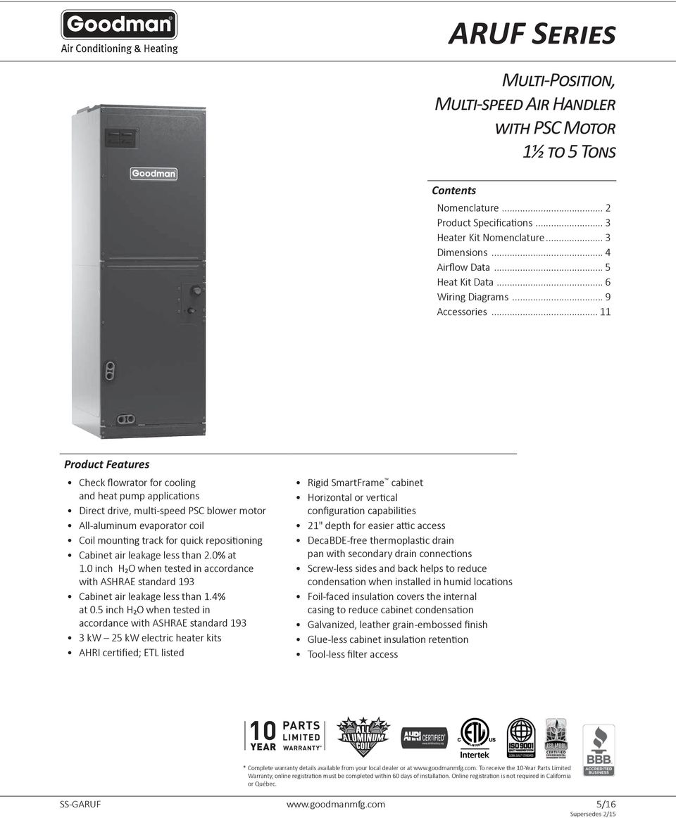 Aruf Series Multi Position Speed Air Handler With Psc Motor Conditioner Wiring Diagrams On Blower Diagram Advertisement