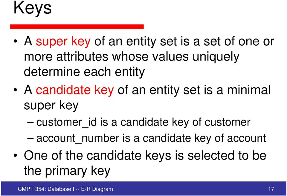 customer_id is a candidate key of customer account_number is a candidate key of account
