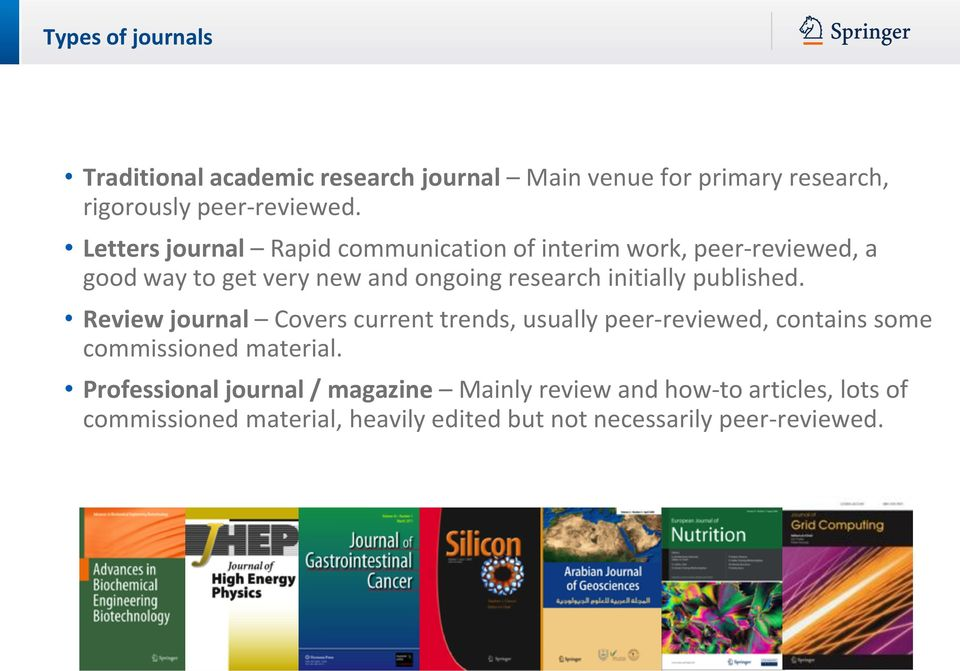 initially published. Review journal Covers current trends, usually peer-reviewed, contains some commissioned material.