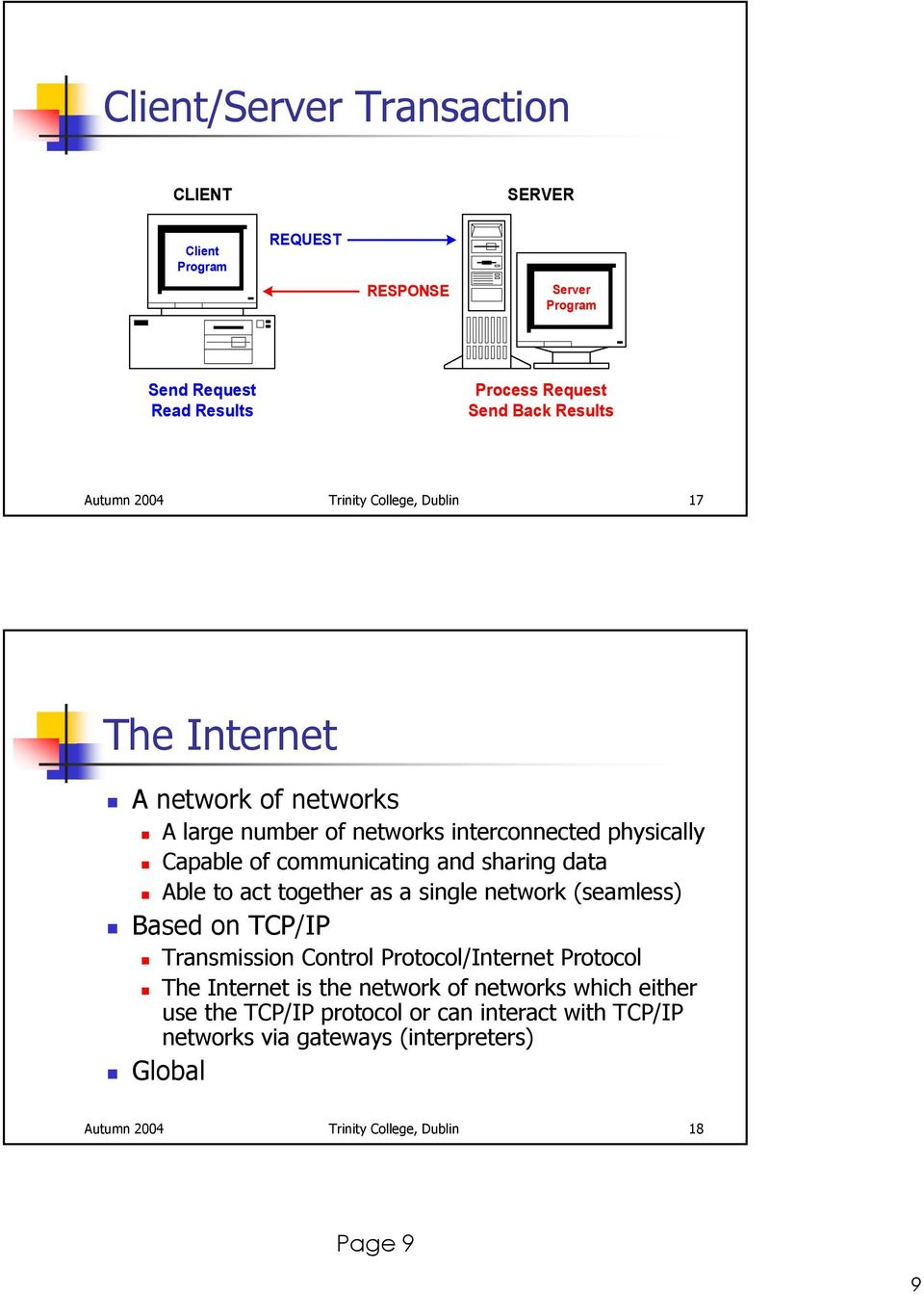 data Able to act together as a single network (seamless) Based on TCP/IP Transmission Control Protocol/Internet Protocol The Internet is the network of
