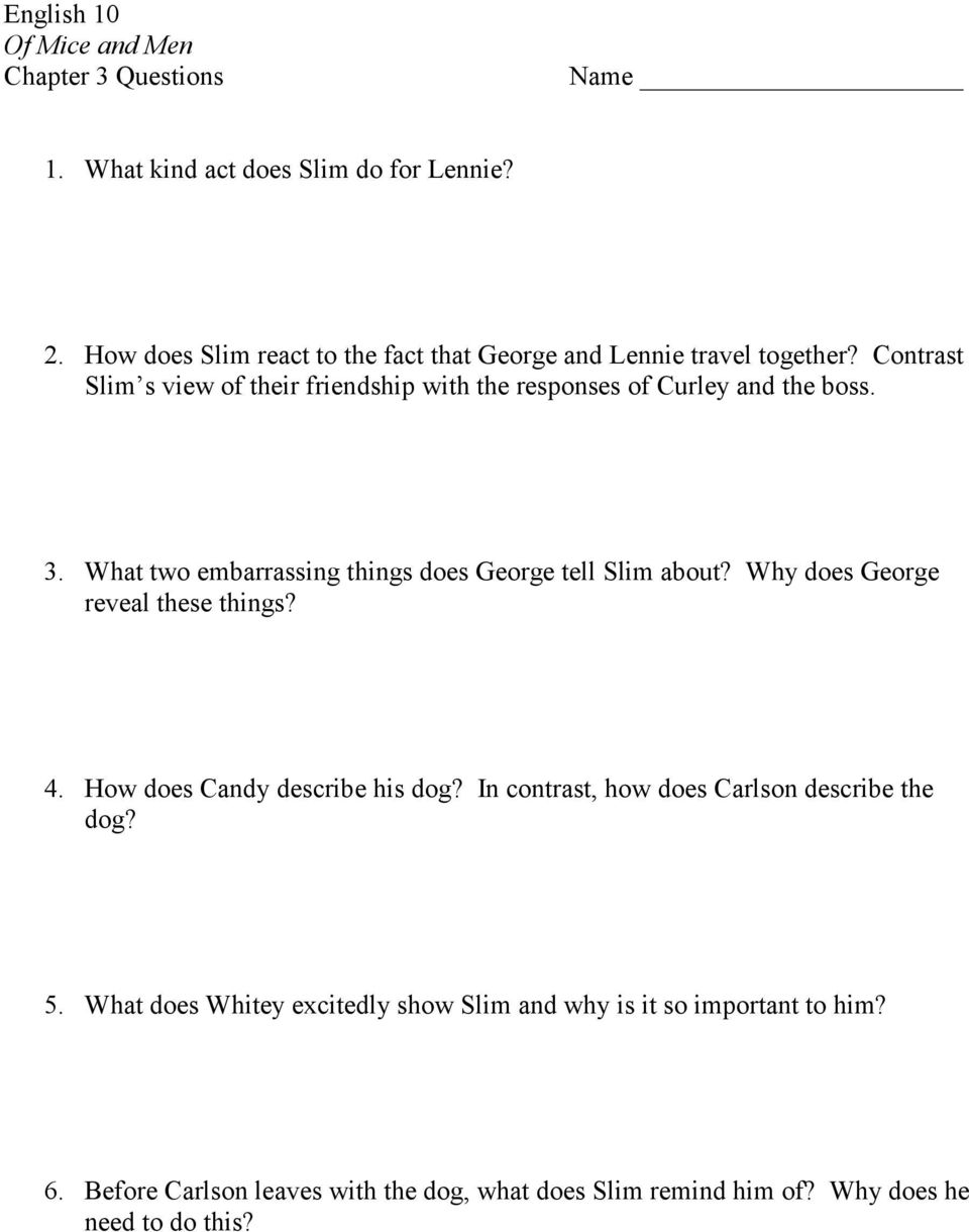 english of mice and men chapter questions pts list why does george reveal these things 4 how does candy describe his dog