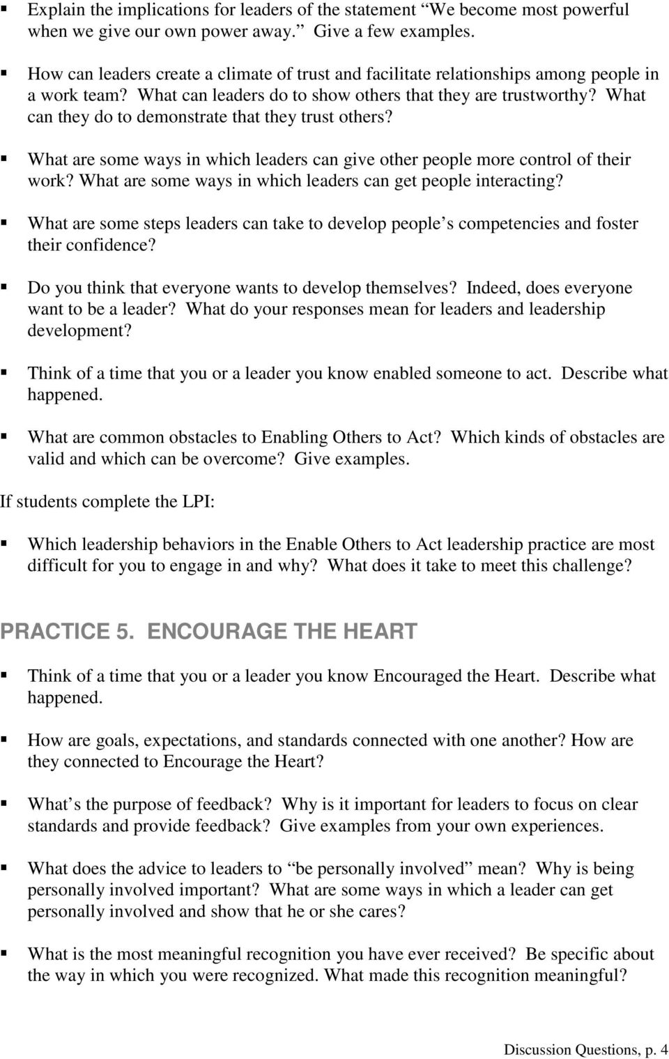 the leadership challenge th edition discussion questions pdf what can they do to demonstrate that they trust others what are some ways in