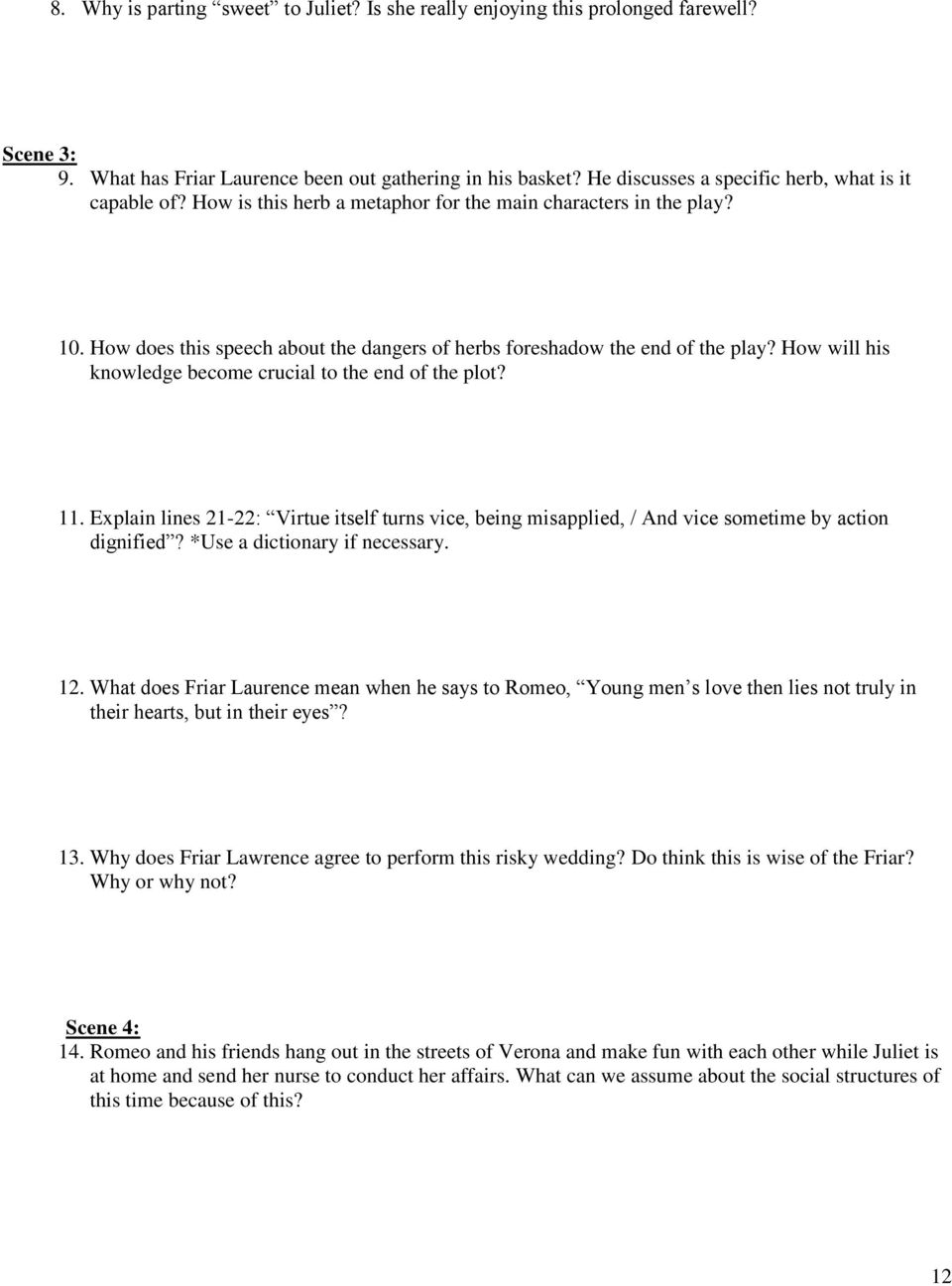 romeo juliet study guide pdf how does this speech about the dangers of herbs foreshadow the end of the play