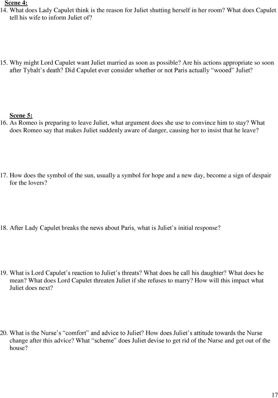 romeo juliet study guide pdf scene 5 16 as romeo is preparing to leave juliet what argument does