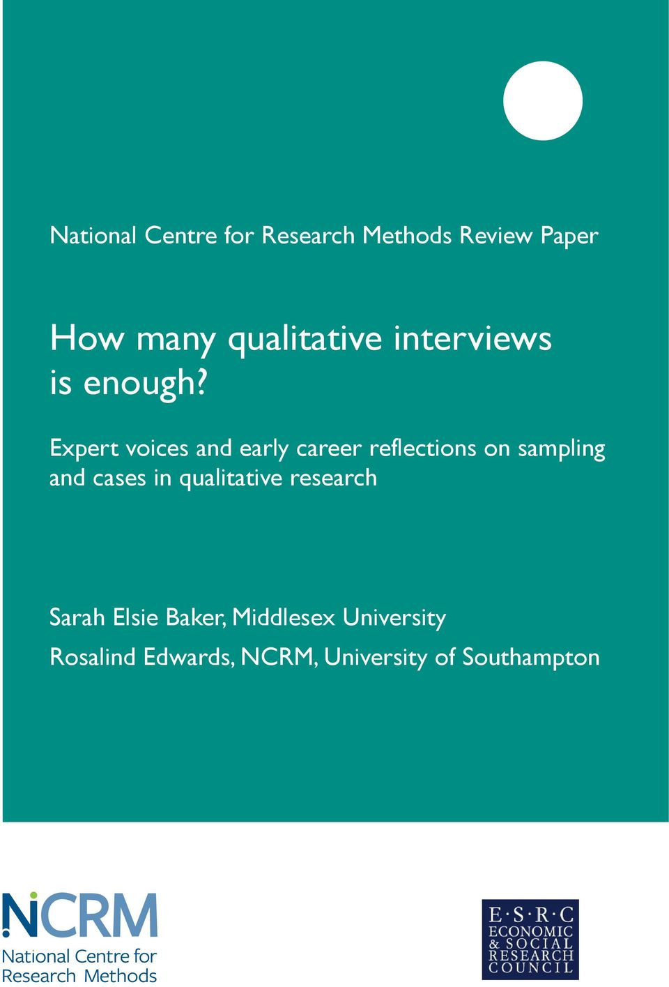 Expert voices and early career reflections on sampling and cases in