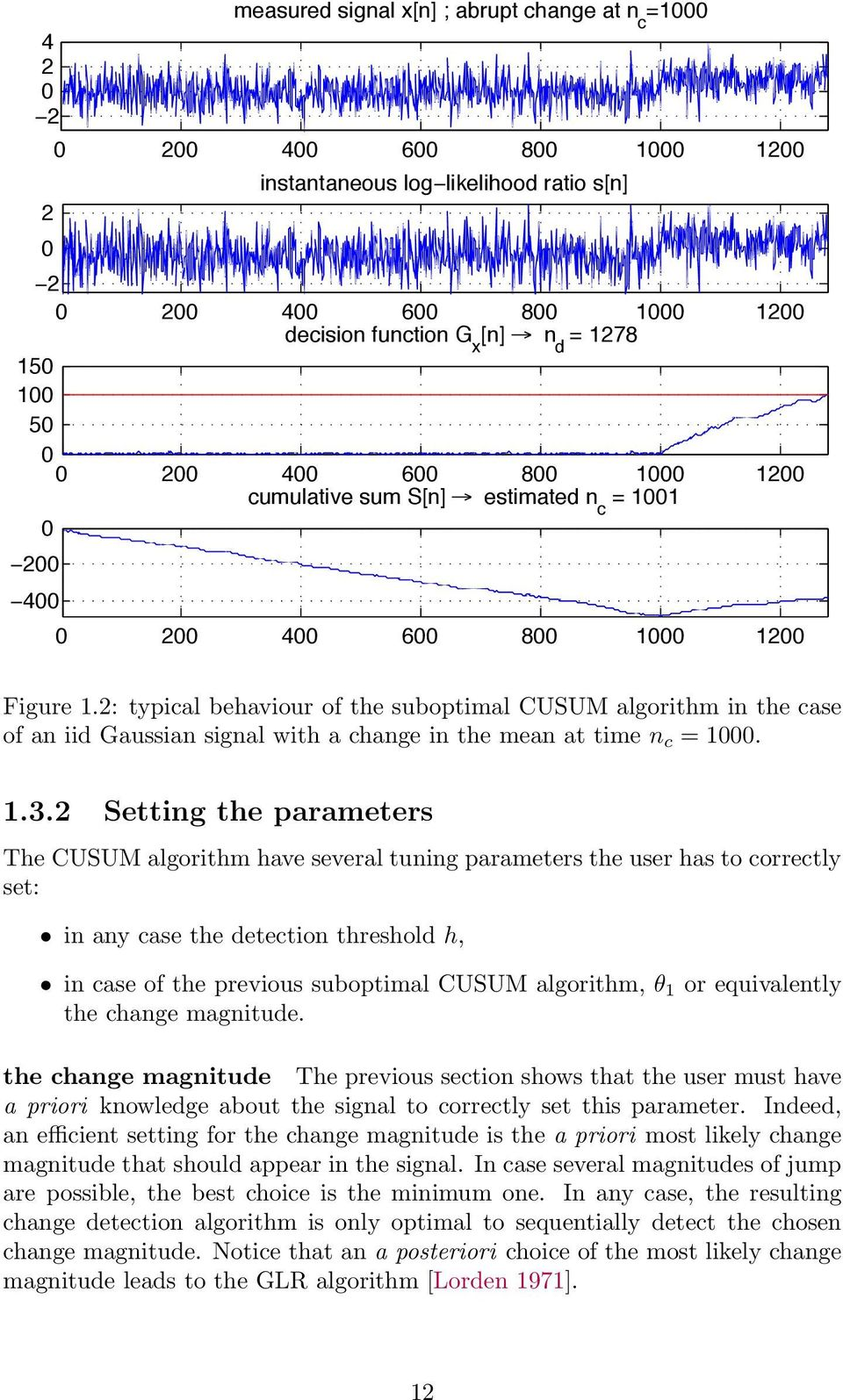 Setting the parameters The CUSUM algorithm have several tuning parameters the user has to correctly set: in any case the detection threshold h, in case of the previous suboptimal CUSUM algorithm, θ 1