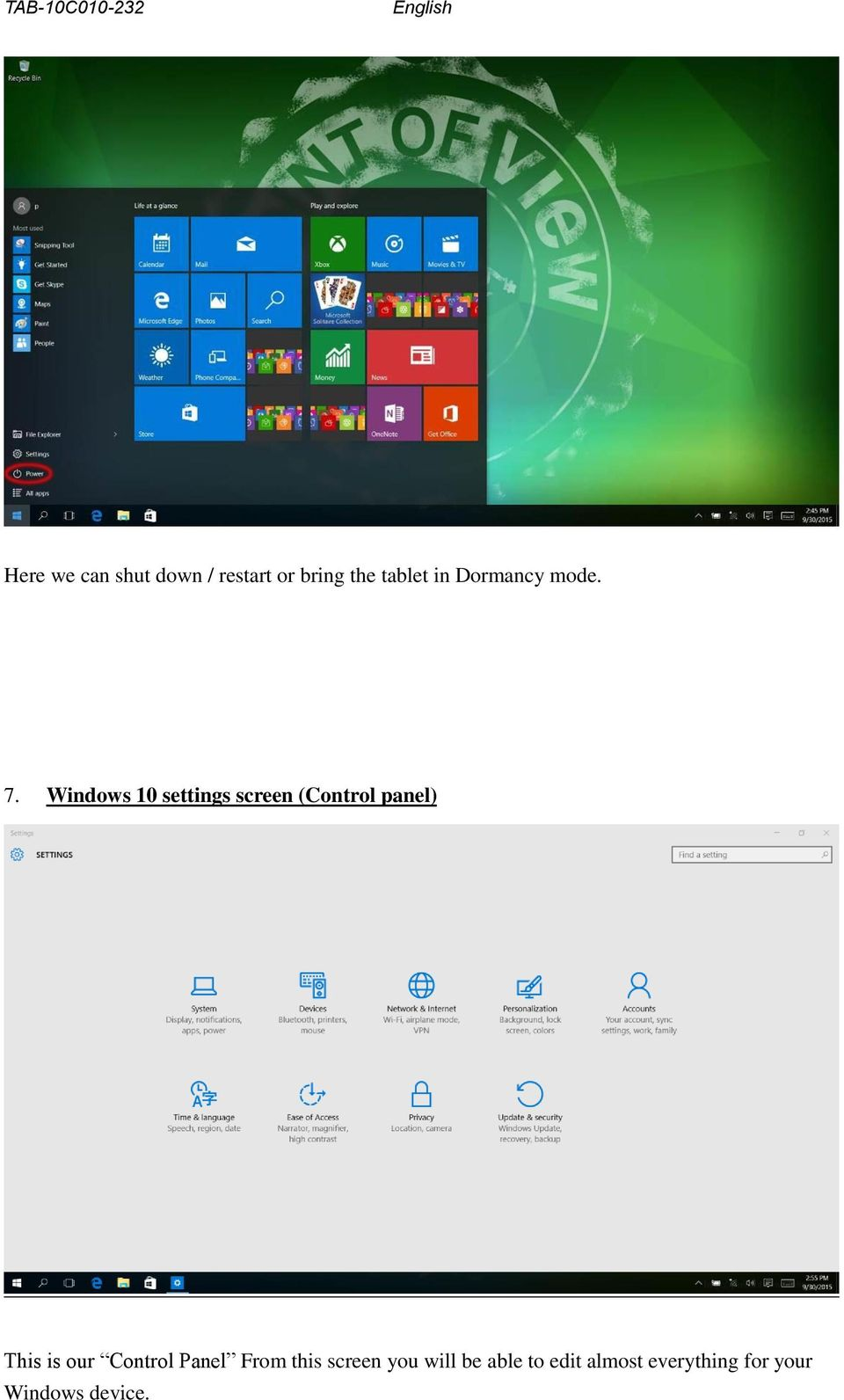 Windows 10 settings screen (Control panel) This is our