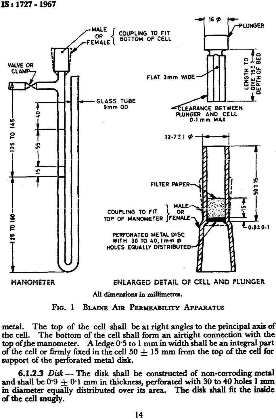 Th e top of the cell shall be at right angles to the principal axis of the cell. Th e bottom of the cell shall form an airtight connection with the top ofjhe manometer. A ledge 0.