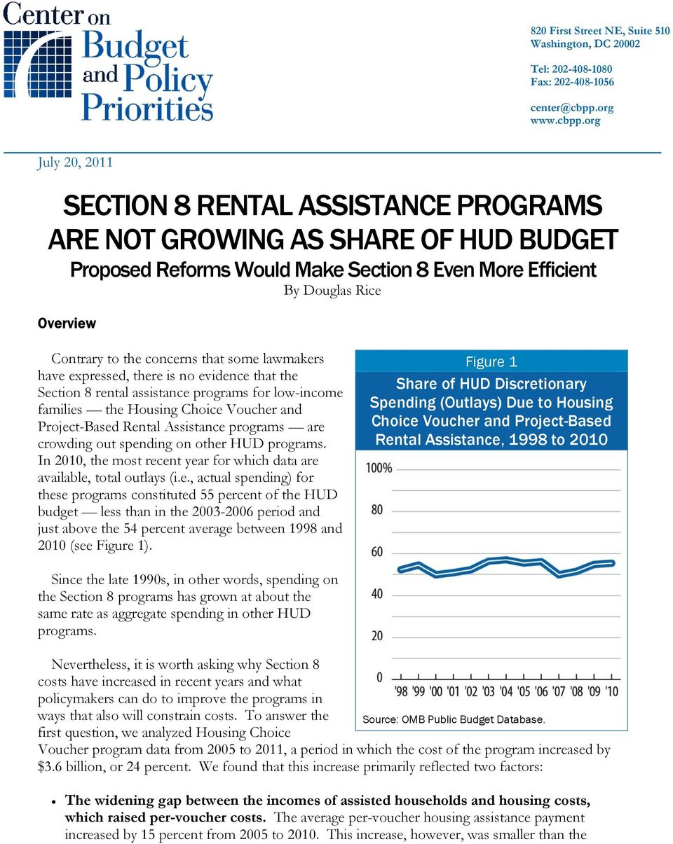 org July 20, 2011 SECTION 8 RENTAL ASSISTANCE PROGRAMS ARE NOT GROWING AS SHARE OF HUD BUDGET Proposed Reforms Would Make Section 8 Even More Efficient By Douglas Rice Overview Contrary to the