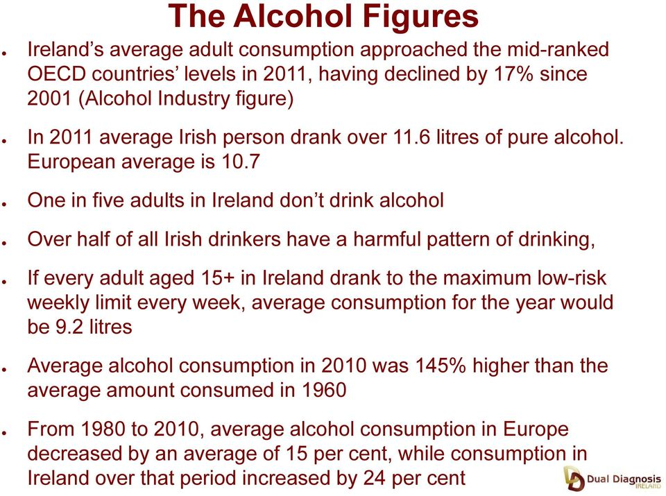 7 One in five adults in Ireland don t drink alcohol Over half of all Irish drinkers have a harmful pattern of drinking, If every adult aged 15+ in Ireland drank to the maximum low-risk weekly