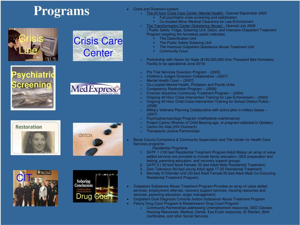Outpatient Treatment Program targeting the homeless public inebriate) The Detoxification Unit The Public Safety Sobering Unit The Intensive Outpatient Substance Abuse Treatment Unit Community Court o