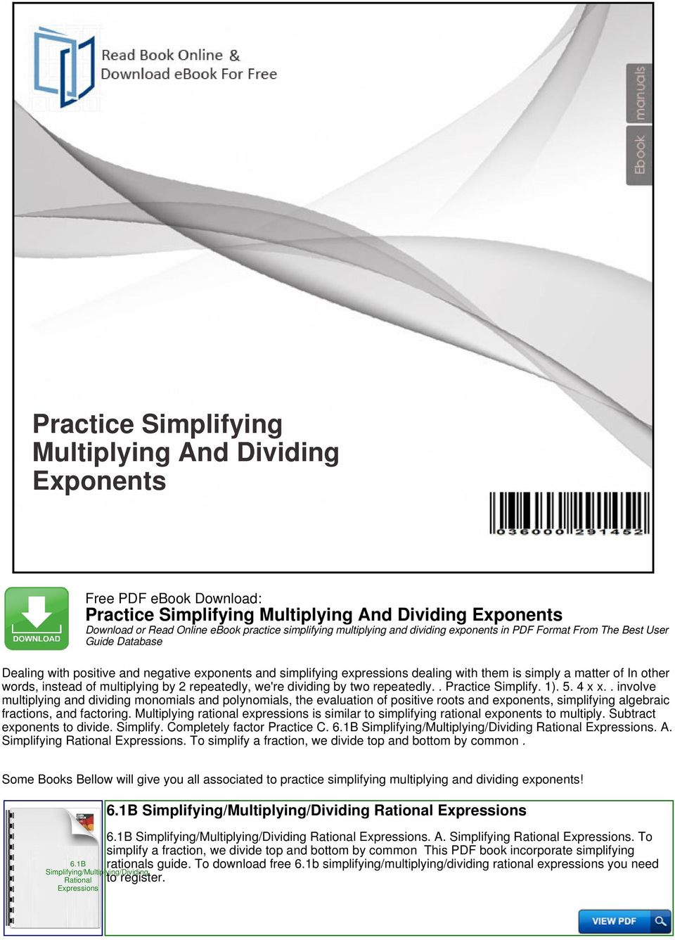 Practice Simplifying Multiplying And Dividing Exponents - PDF