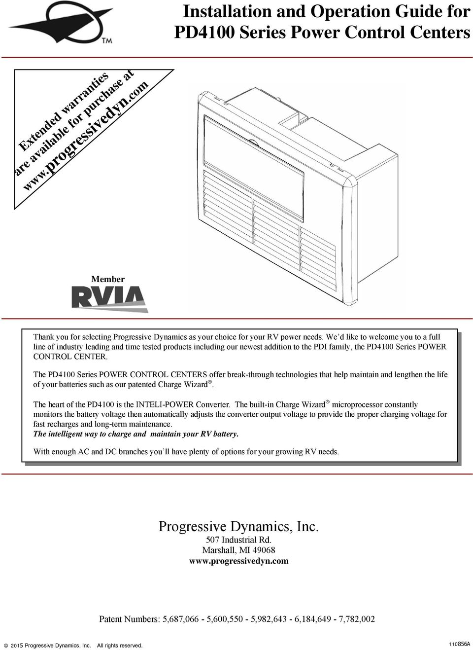 Progressive Dynamics Power Converter Wiring Diagram Apache Camper Installation And Operation Guide For Pd4100 Series Control