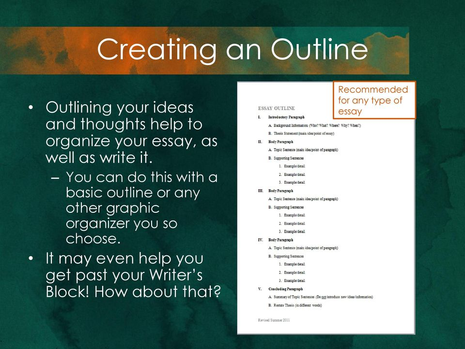 You can do this with a basic outline or any other graphic organizer you