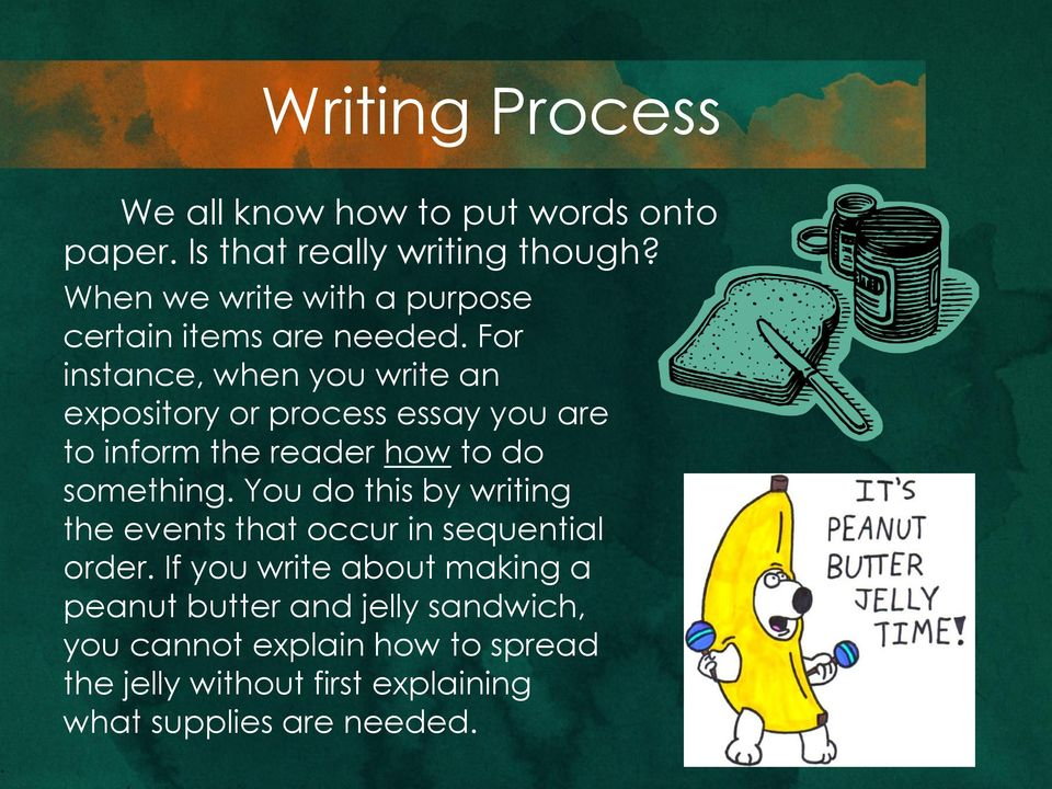 For instance, when you write an expository or process essay you are to inform the reader how to do something.