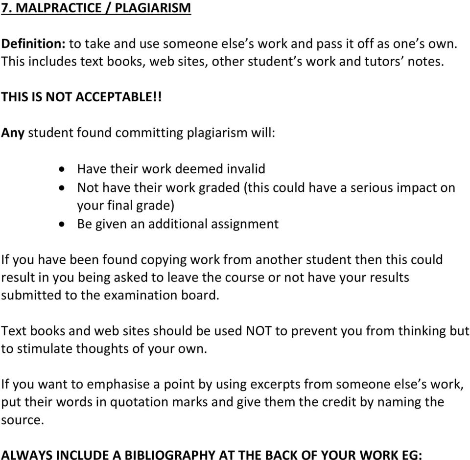 ! Any student found committing plagiarism will: Have their work deemed invalid Not have their work graded (this could have a serious impact on your final grade) Be given an additional assignment If