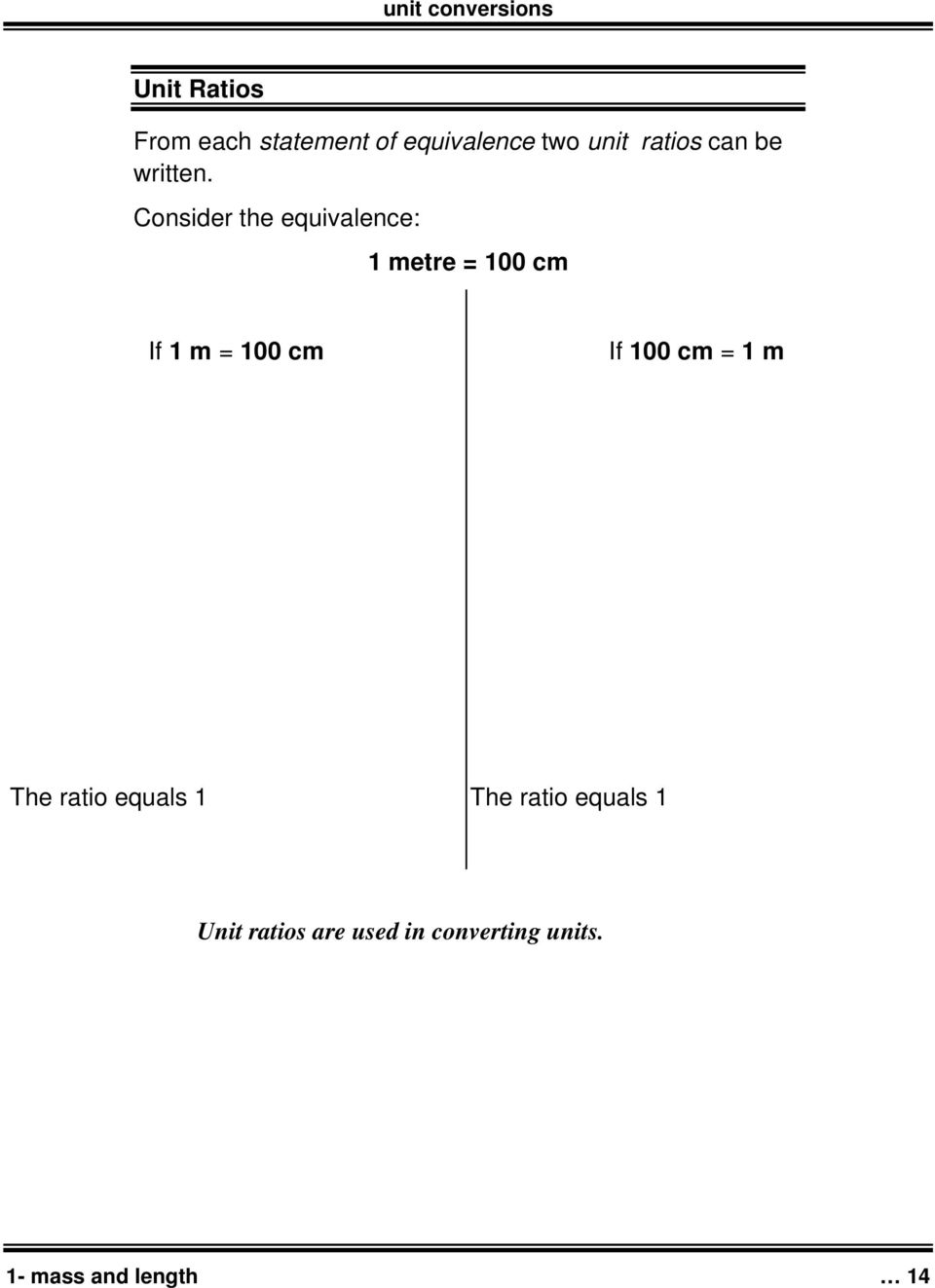 Consider the equivalence: 1 metre = 100 cm If 1 m = 100 cm If