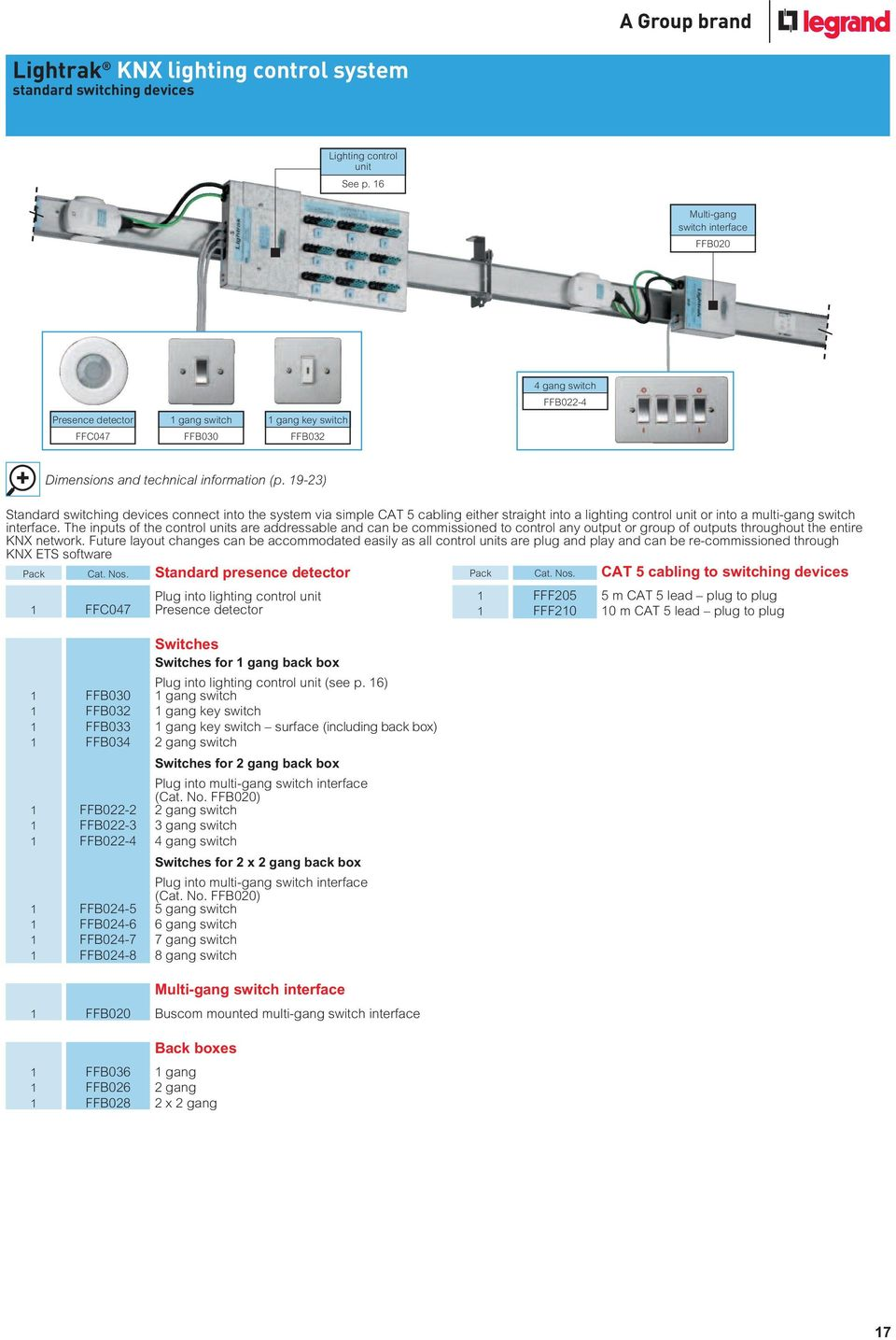 Lightrak Knx Lighting Pdf Wiring A 2 Gang Switch Box 19 23 Standard Switching Devices Connect Into The System Via Simple Cat 5 Cabling