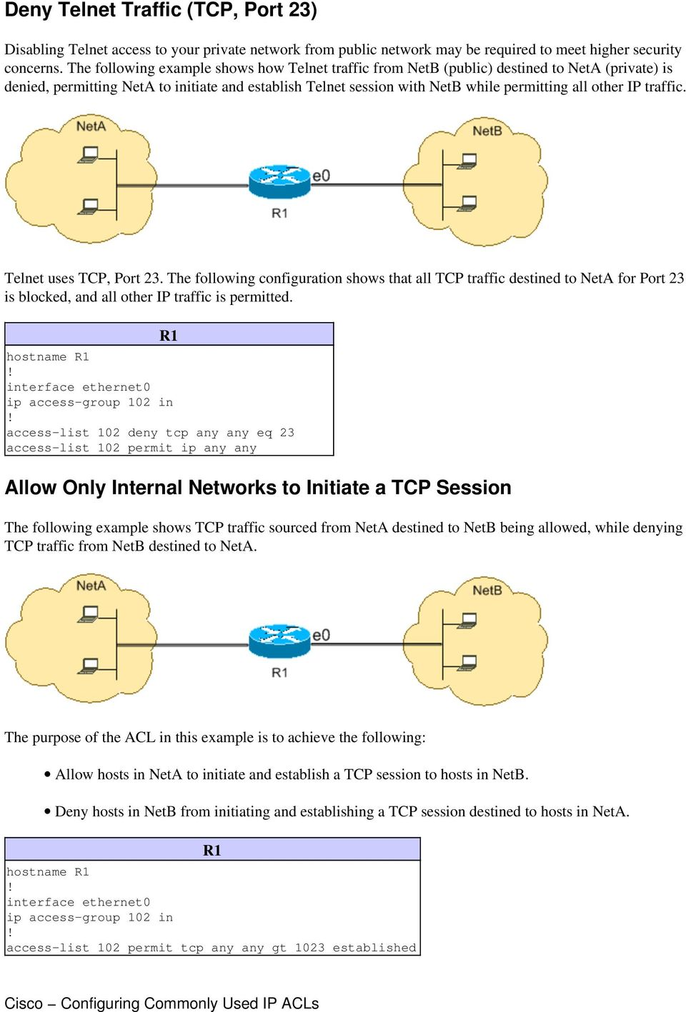 IP traffic. Telnet uses TCP, Port 23. The following configuration shows that all TCP traffic destined to NetA for Port 23 is blocked, and all other IP traffic is permitted.