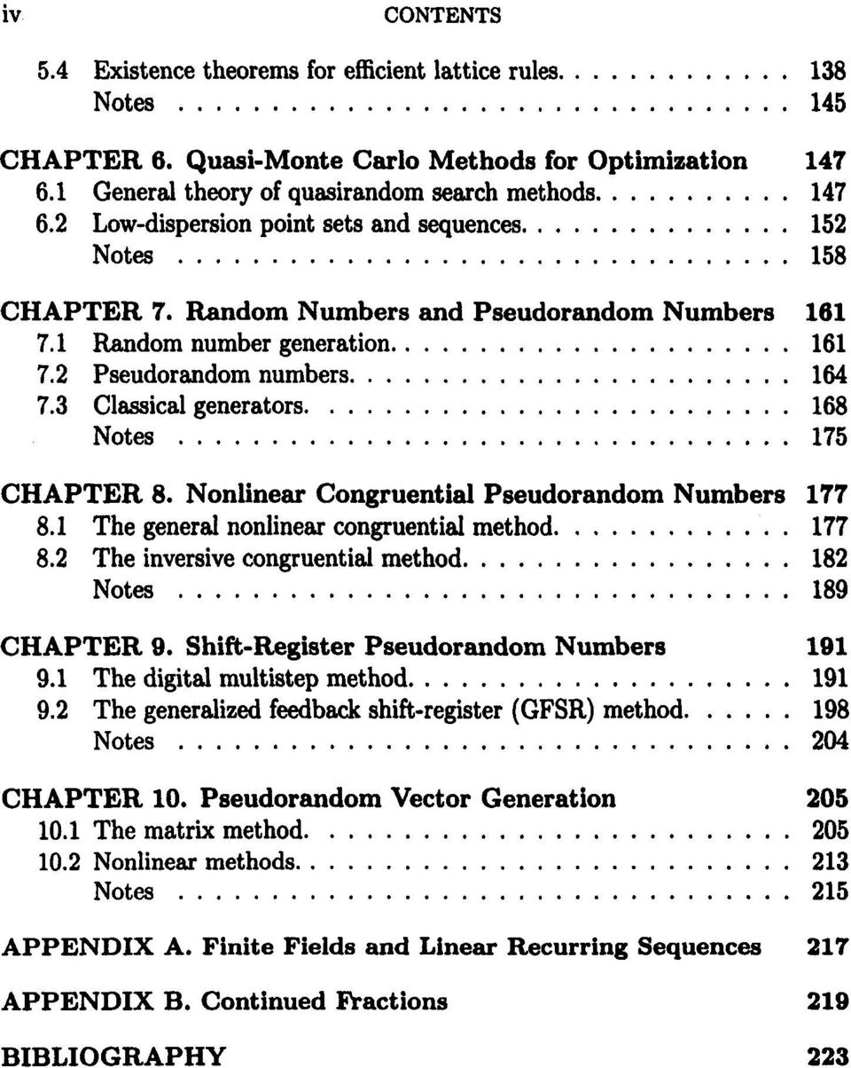Nonlinear Congruential Pseudorandom Numbers 177 8.1 The general nonlinear congruential method.... 177 8.2 The inversive congruential method... 182 Notes... 189 CHAPTER 9.