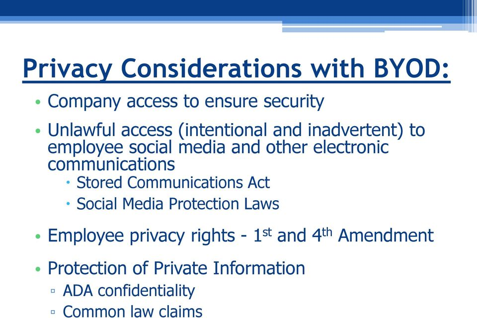 communications Stored Communications Act Social Media Protection Laws Employee privacy