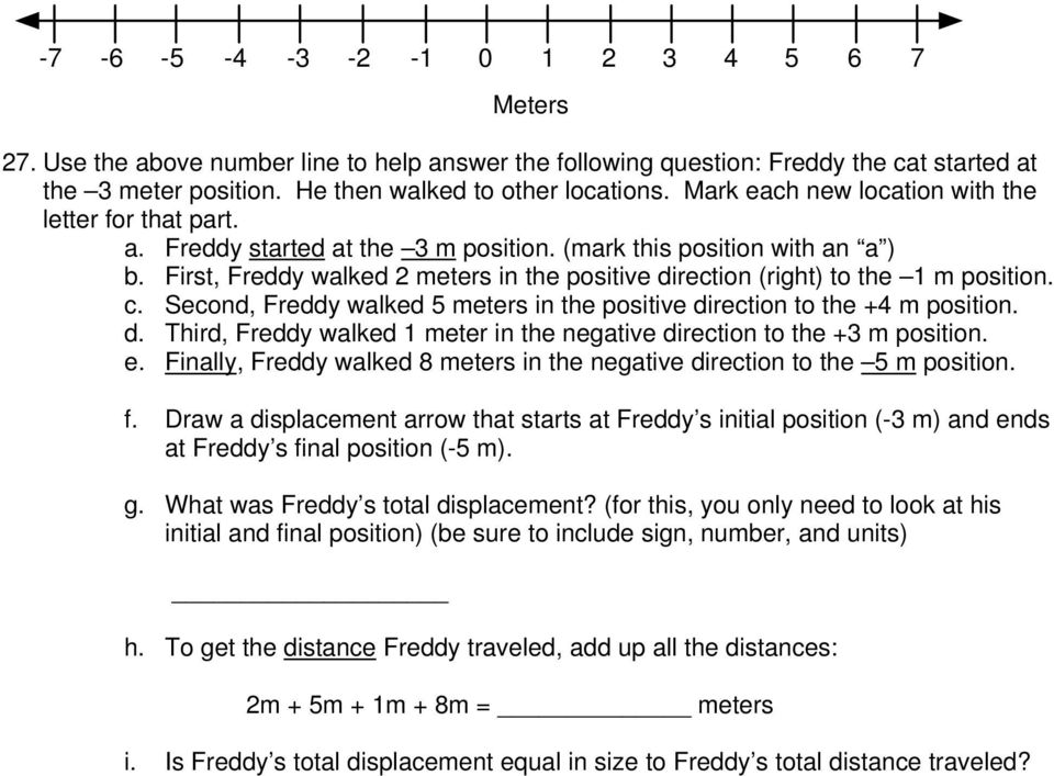 First, Freddy walked 2 meters in the positive direction (right) to the 1 m position. c. Second, Freddy walked 5 meters in the positive direction to the +4 m position. d. Third, Freddy walked 1 meter in the negative direction to the +3 m position.