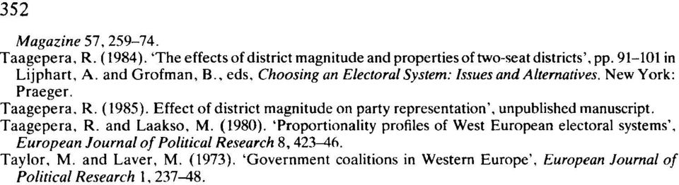 Effect of district magnitude on party representation, unpublished manuscript. Taagepera, R. and Laakso, M. (1980).