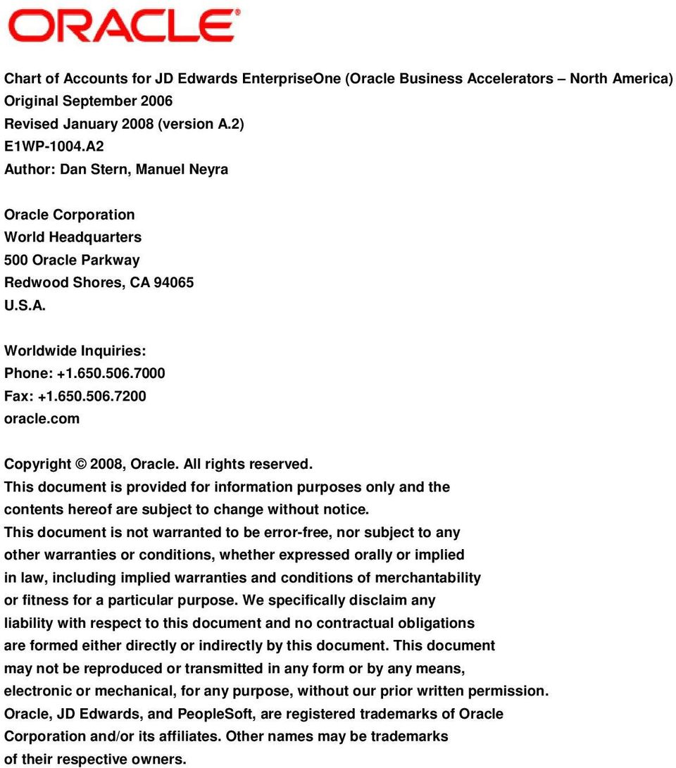 com Copyright 2008, Oracle. All rights reserved. This document is provided for information purposes only and the contents hereof are subject to change without notice.