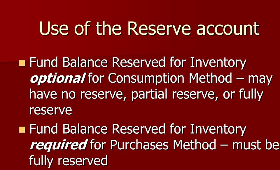 reserve, partial reserve, or fully reserve Fund Balance
