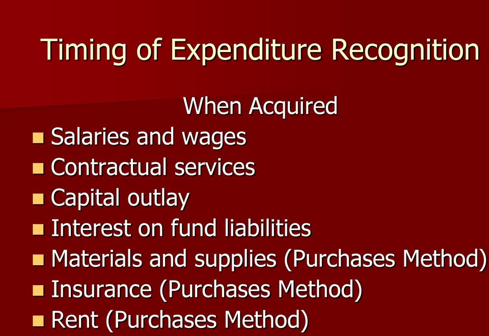 on fund liabilities Materials and supplies (Purchases