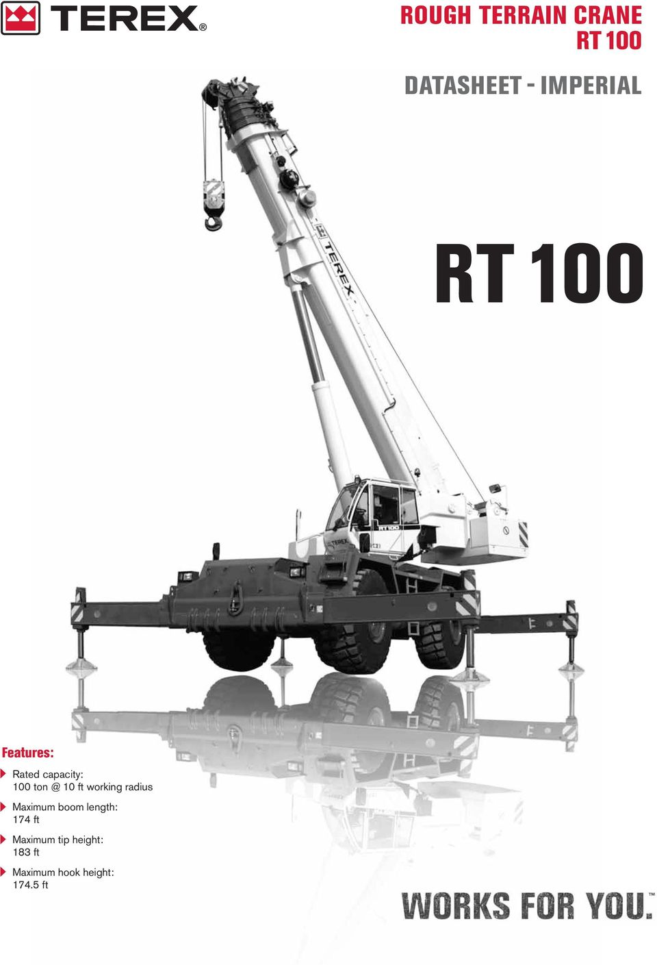 working radius Maximum boom length: 174 ft