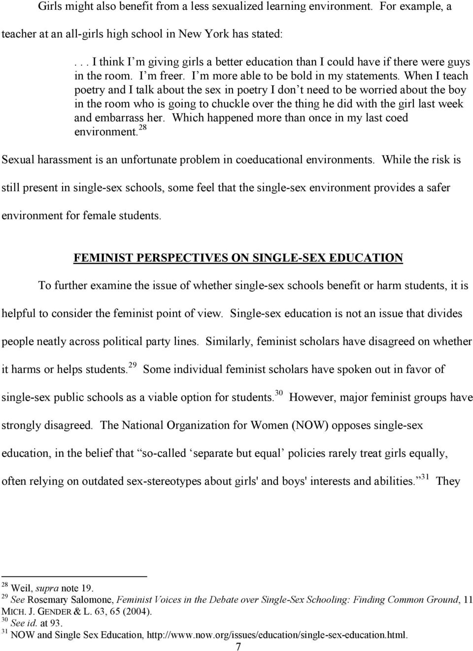 Problems with single sex education