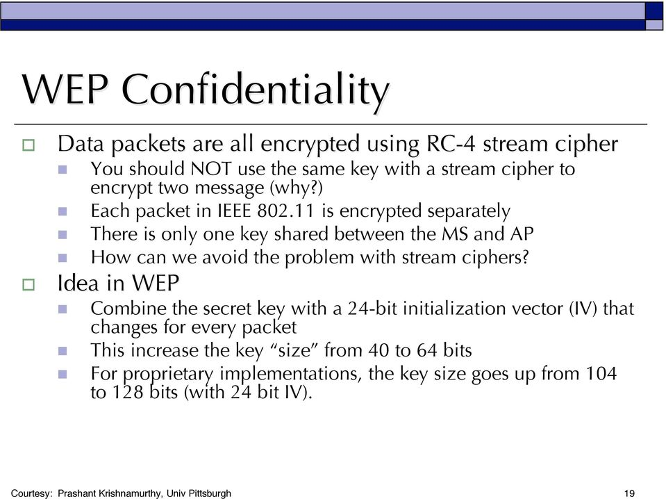 11 is encrypted separately There is only one key shared between the MS and AP How can we avoid the problem with stream ciphers?