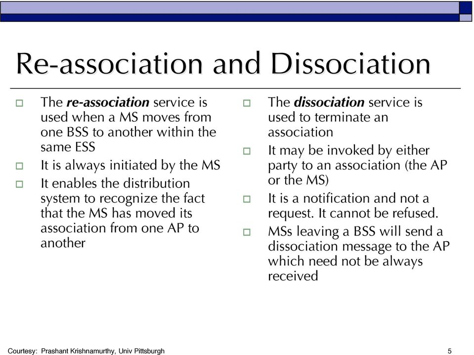 used to terminate an association It may be invoked by either party to an association (the AP or the MS) It is a notification and not a request.