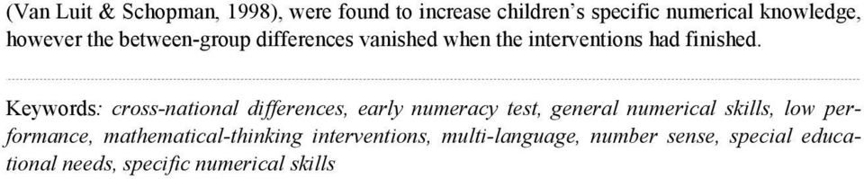 Keywords: cross-national differences, early numeracy test, general numerical skills, low
