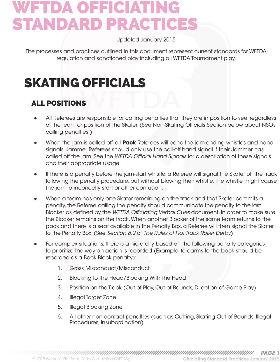 (See Non-Skating Officials Section below about NSOs calling penalties.) When the jam is called off, all Pack Referees will echo the jam-ending whistles and hand signals.