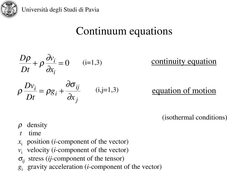 conditions) density time position (i-component of the vector) velocity (i-component